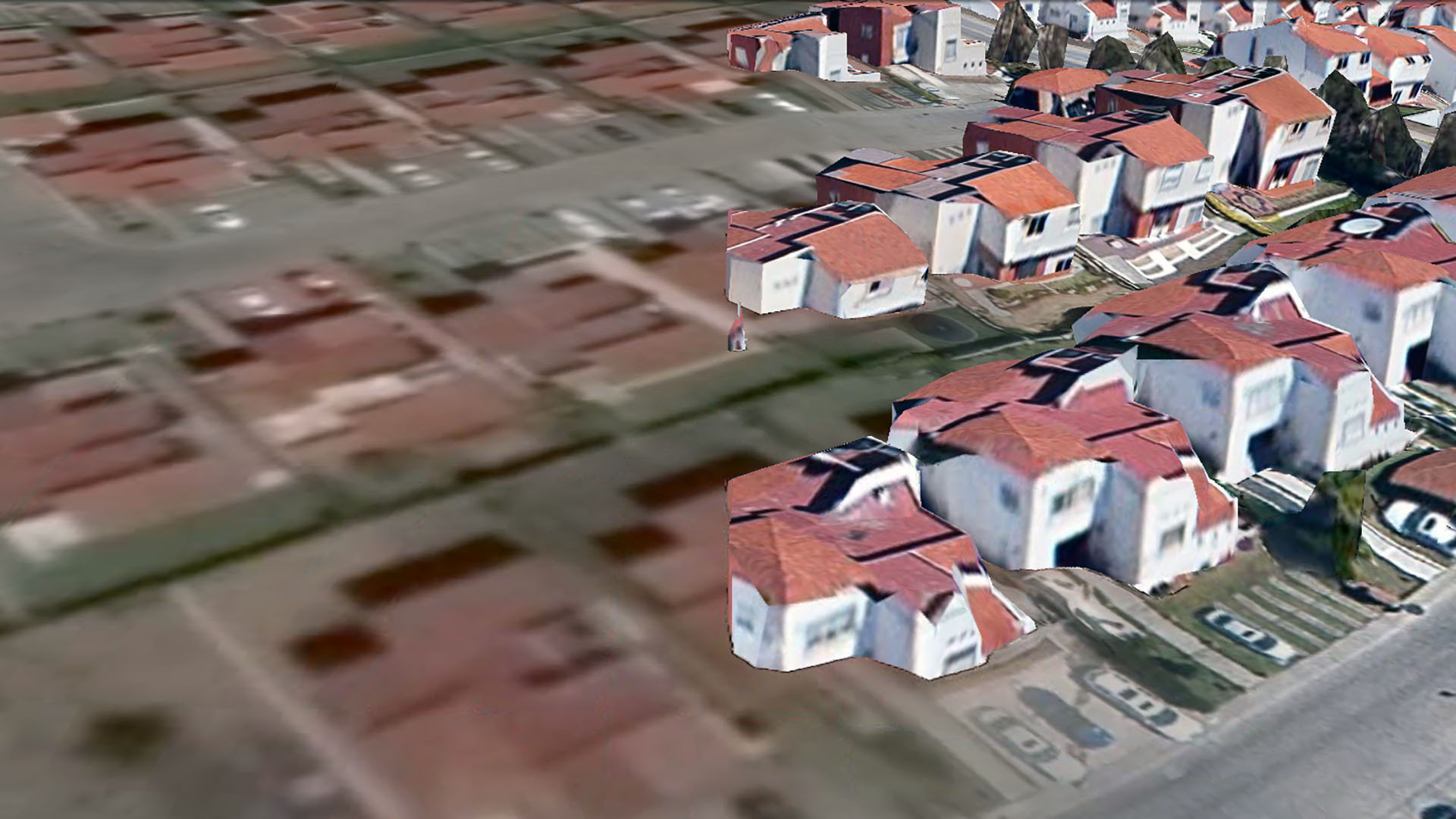 Real Esmeralda, a housing development in Andalucía, on the northwest frontier of the digital model of Mexico City, as rendered in Google Earth 7.1.2.2041.