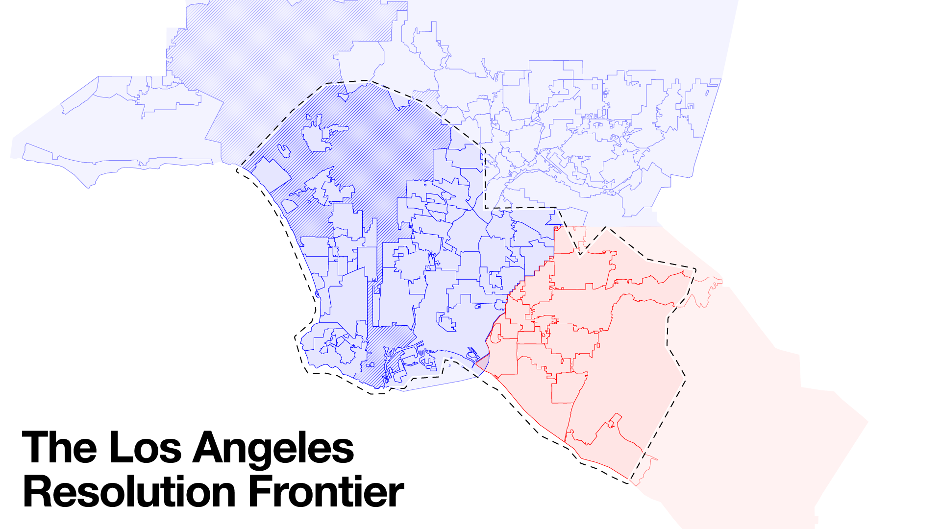 Google Earth's indifference to existing political and judicial boundaries. The photogrammetric model of Los Angeles (dashed line) straddles Los Angeles County (in blue) and Orange County (in red), and its edge slices through no fewer than 11 Los Angeles neighborhoods and 27 cities in Southern California.