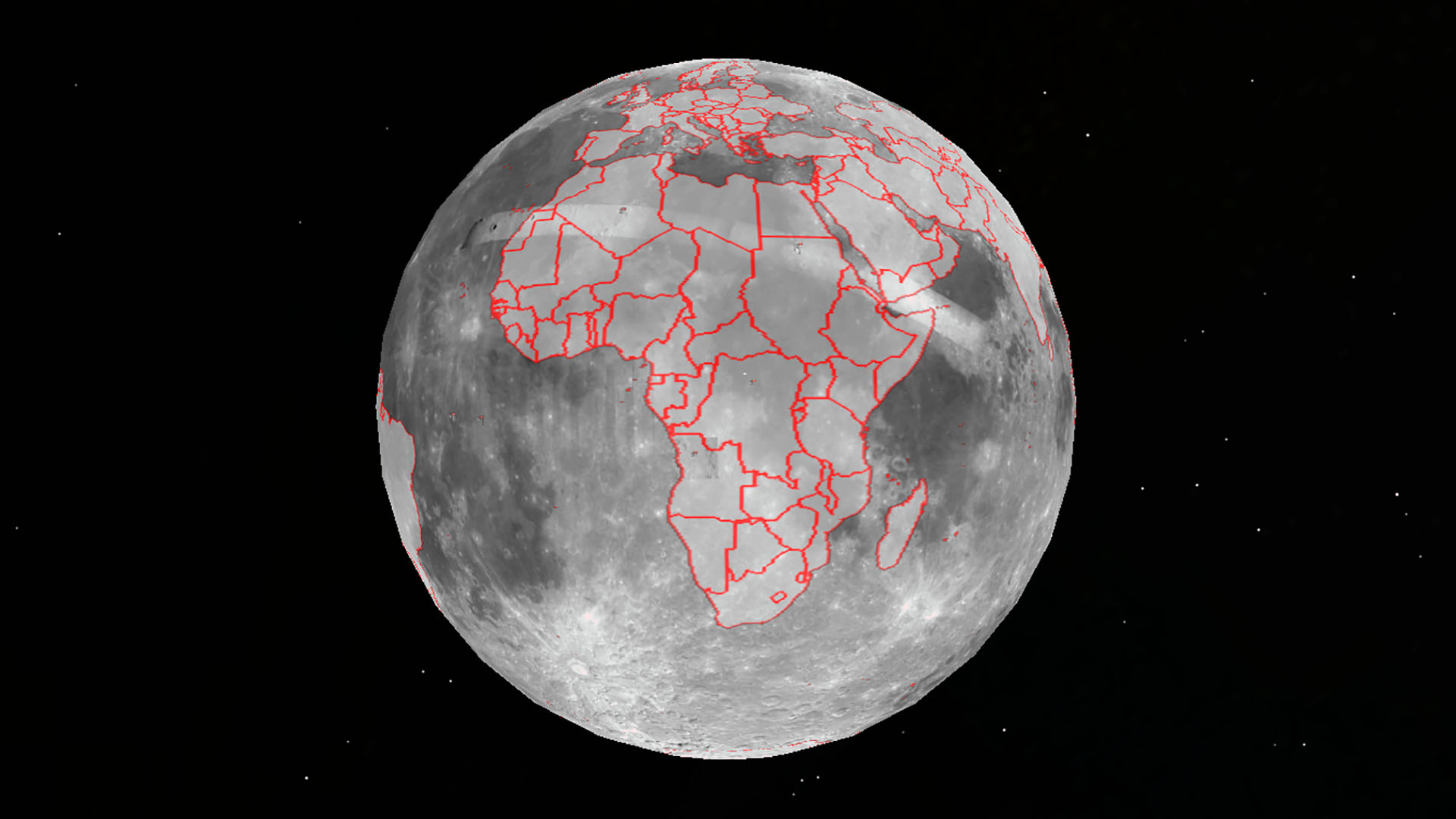 The continent of Africa projected onto the Moon in Google Earth 7.1.2.2041. The Apollo 11 landing site is visible in the north of the Democratic Republic of Congo, roughly image center.