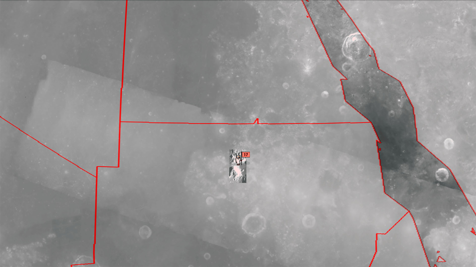 A depiction of an Apollo 17 astronaut, presumably Commander Eugene Cernan, posing with a flag in North Sudan on the Moon in Google Earth 7.1.2.2041.