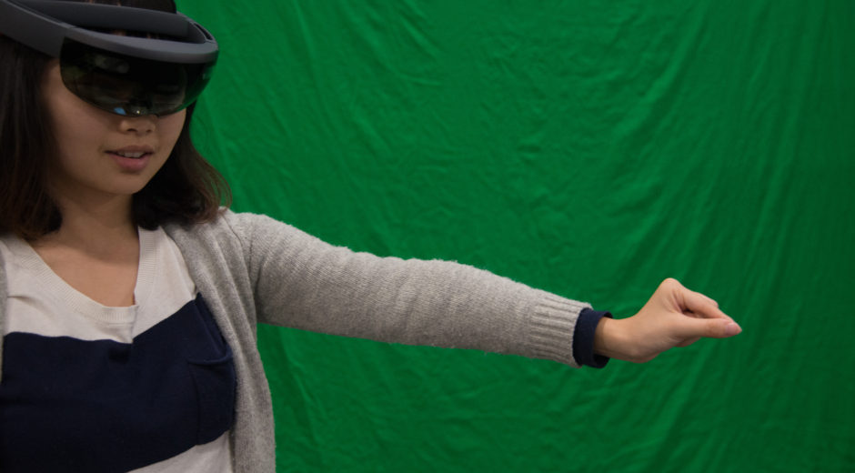 MDP/Lab Tianlu Tang interacts with something she sees in the Microsoft Hololens