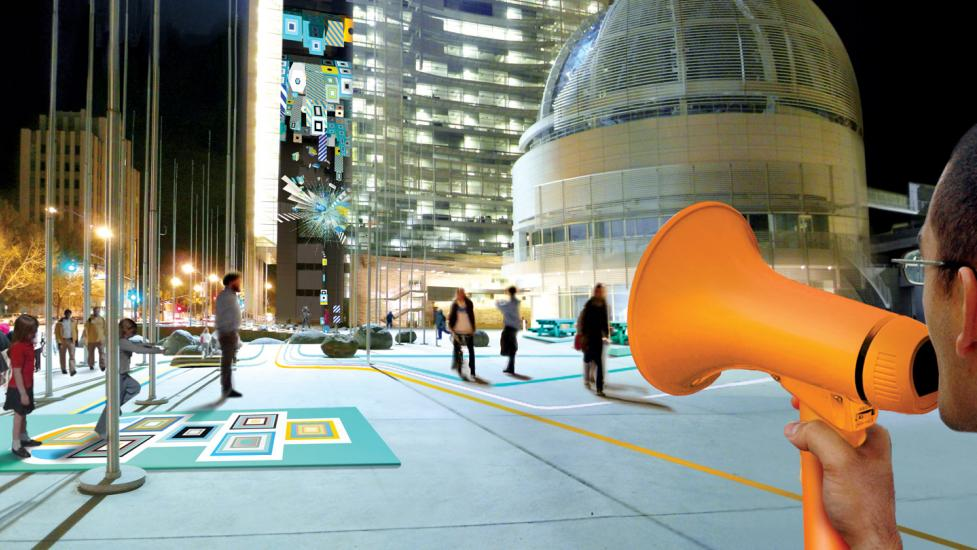 As part of the LAB at the Rockwell Group, Joshua collaborated with his team to create Plug-In-Play, an interactive urban-scale projection installed at San Jose City Hall. The installation invited people to interact physically and virtually with the city. (Credit: LAB at Rockwell Group)