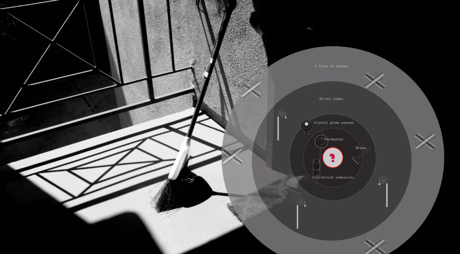 Using images to create an AI noir aesthetic, such as showing a broom apprehended in situ, including a diagram of the network of AI agents. From Networked Colluding by Stephanie Cedeño and Nicci Yin.